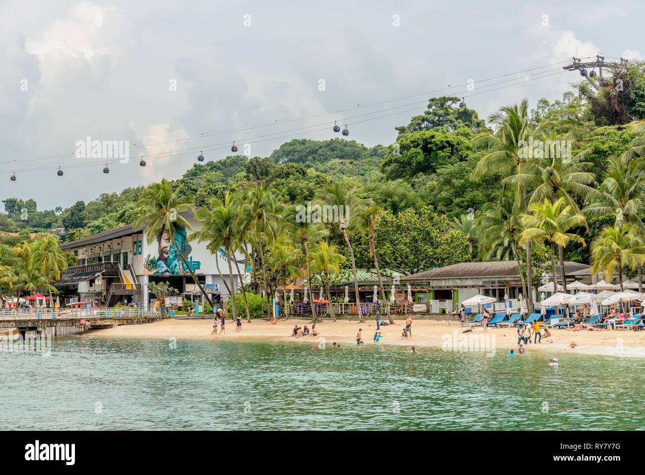 Palawan Beach on Sentosa Island, Singapore | Palawan Strand auf der Insel Sentosa, Singapur Stock Photo