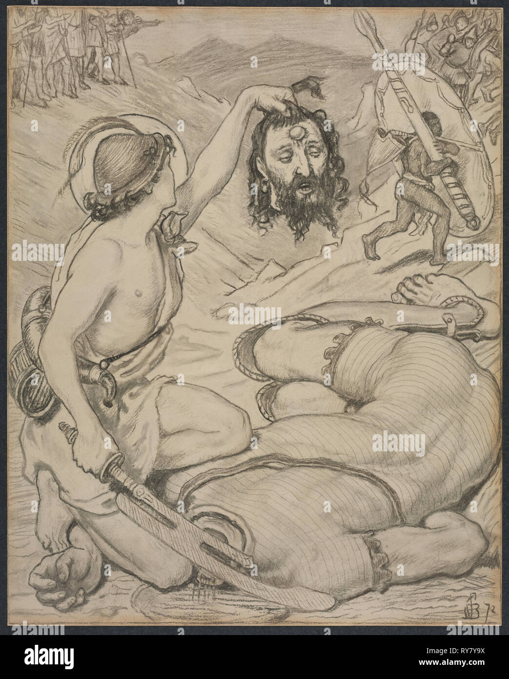 David and Goliath, Cartoon for Stained Glass Window at Jesus College, Cambridge, 1872. Ford Madox Brown (British, 1821-1893). Gray-black and brown-black charcoal, and graphite on light- to medium-weight Japanese paper; sheet: 52 x 41.7 cm (20 1/2 x 16 7/16 in - Stock Image