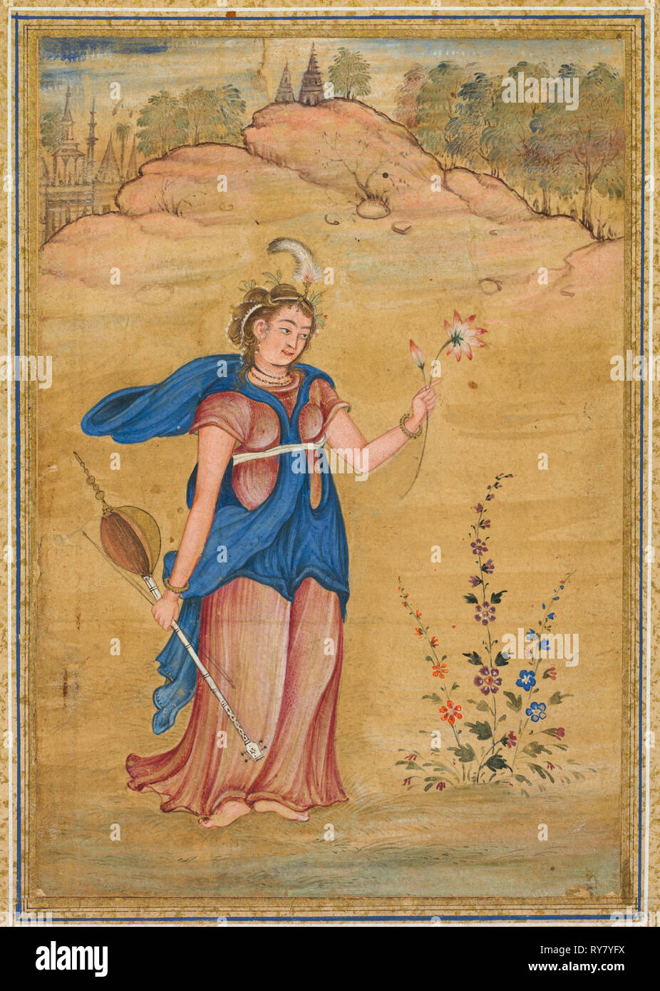 "A female figure standing in a landscape holding a four-stringed ""khuuchir"" and a lotus, c. 1590. India, Mughal, late 16th century. Opaque watercolor with gold on paper, mounted with borders of gold-decorated cream and blue paper; page: 31.6 x 20.7 cm (12 7/16 x 8 1/8 in - Stock Image"