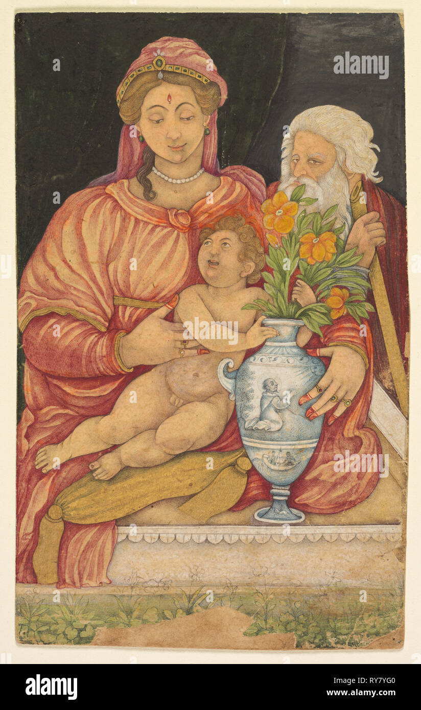 The Holy Family, c. 1620s. Northern India, Mughal court, early 17th century. Opaque watercolor and gold on paper - Stock Image