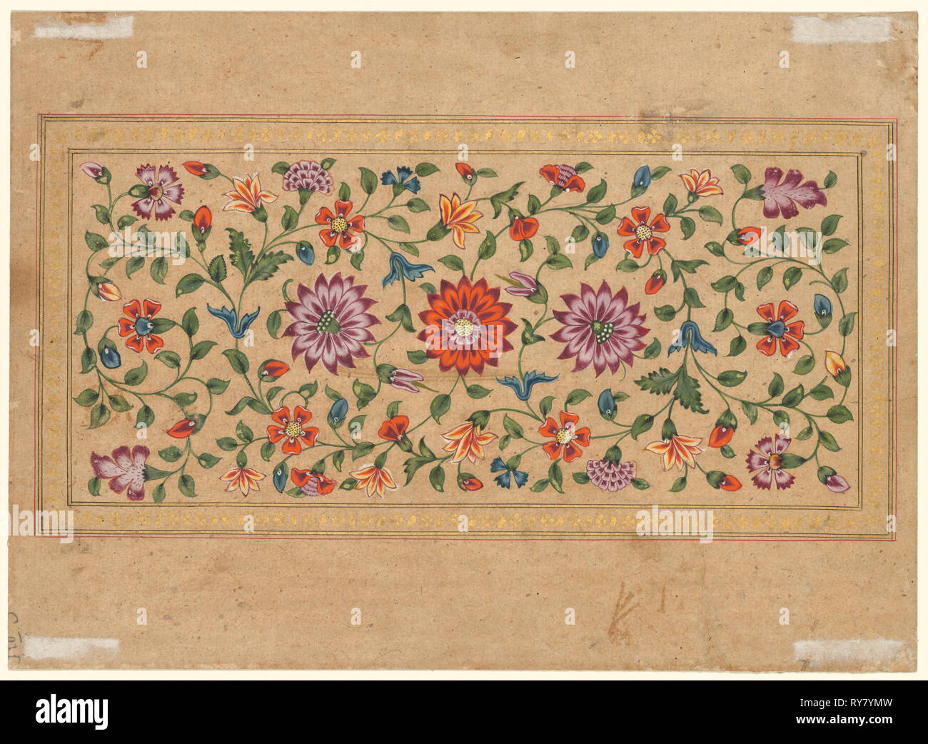 Scrolling Floral Vines, 1755. Fayzullah (Indian, active c. 1730–1765). Opaque watercolor with gold on paper (verso - Stock Image