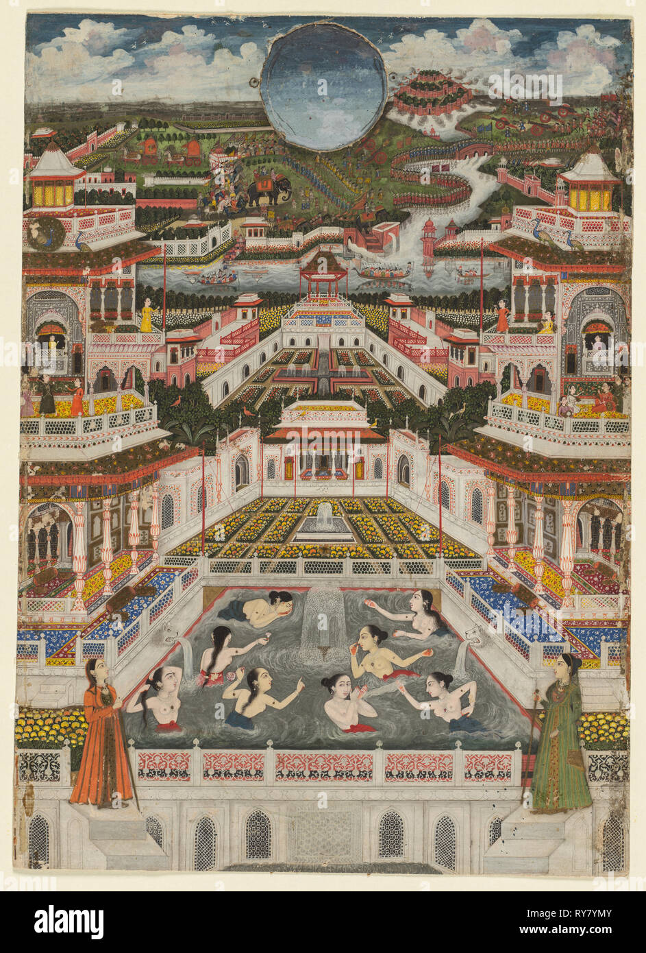 Women bathing before an architectural panorama, c. 1765. Fayzullah (Indian, active c. 1730–1765). Opaque watercolor and gold on paper - Stock Image