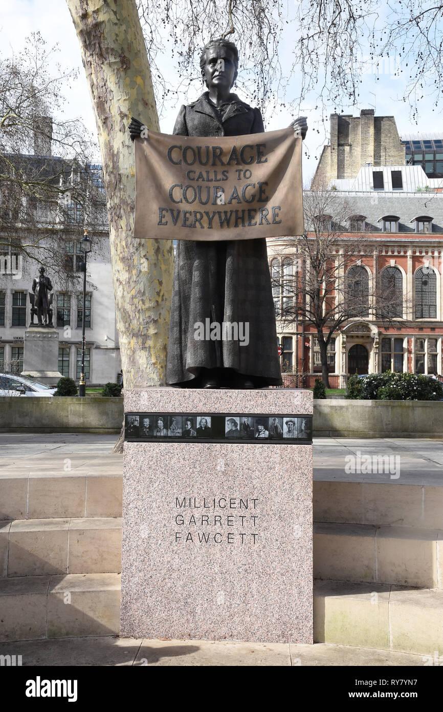 Millicent Fawcett Statue,Parliament Square,London.UK - Stock Image