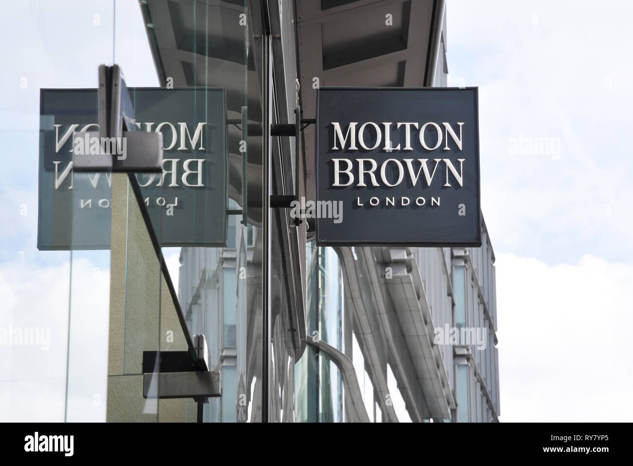Molton Brown Sign,Victoria Street,Victoria,London.UK - Stock Image