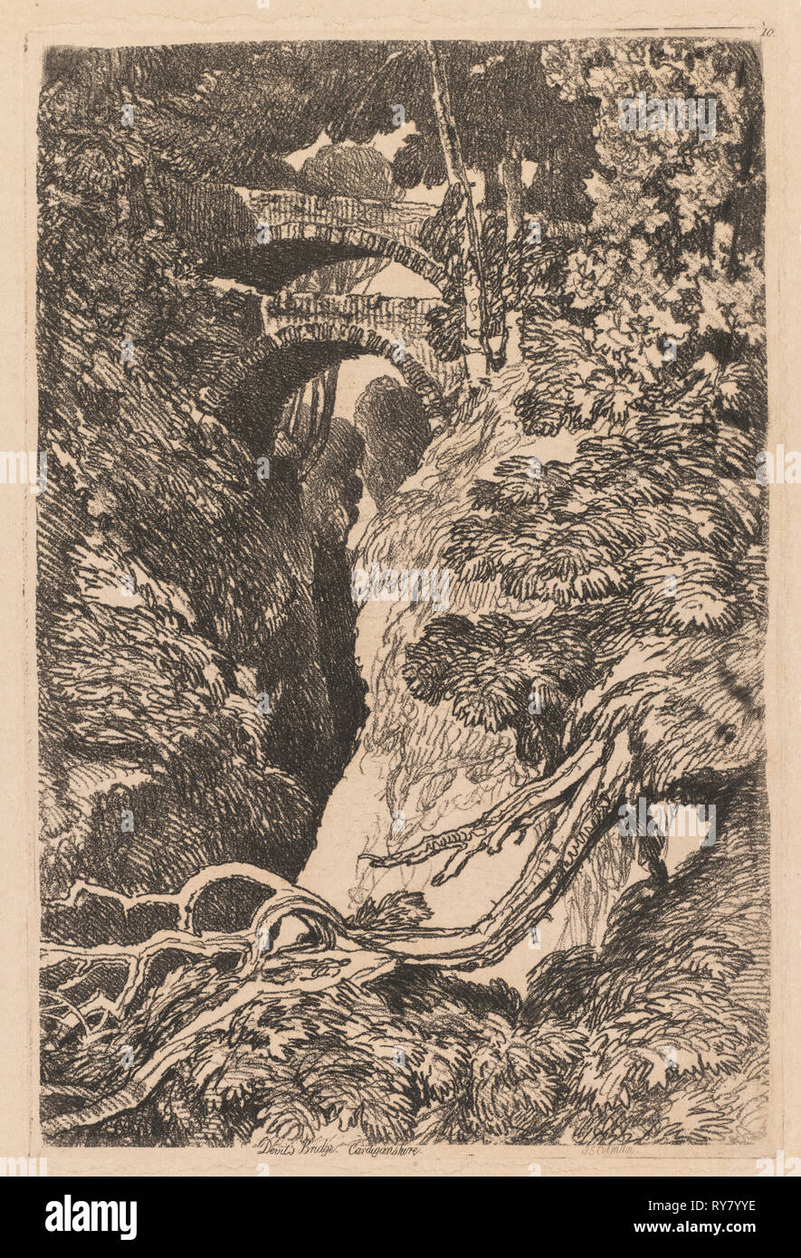 Devil's Bridge, Cardiganshire, 1837. John Sell Cotman (British, 1782-1842). Softground etching and roulette; sheet: 47.7 x 30.9 cm (18 3/4 x 12 3/16 in.); platemark: 18.9 x 12.6 cm (7 7/16 x 4 15/16 in - Stock Image