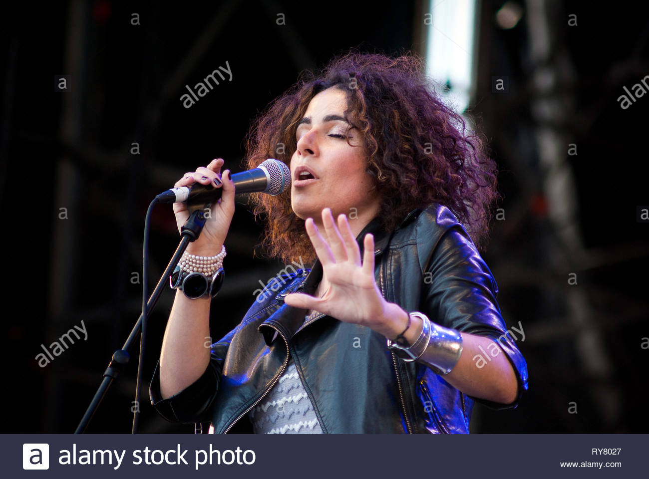 SOPHIE DELILA performing live at Musilac summer festival, 11 july 2009 Stock Photo