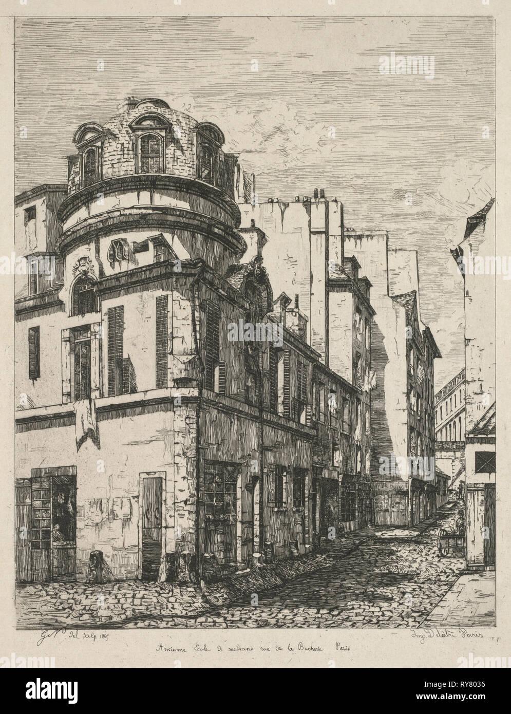 Eaux-Fortes sur le Vieux Paris: Ancienne école de médecine rue de la Bûcherie (Etchings of Old Paris: Former Medical School, rue de la Bucherie), 1865. Gabrielle-Marie Niel (French, 1840-1894), Published by Cadart, Printed by Auguste Delatre. Etching on chine collé; platemark: 32.5 x 24.5 cm (12 13/16 x 9 5/8 in.); secondary support: 36.5 x 29.6 cm (14 3/8 x 11 5/8 in - Stock Image