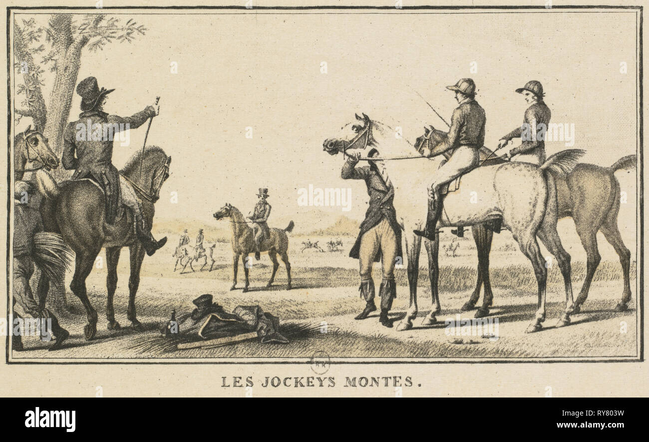Racing Scenes: The Jockey Mounting the Horse (Scènes Hippiques: Le jockey montant a cheval). Carle Vernet (French, 1758-1836), Jazet and Aumont. Lithograph; sheet: 9.1 x 14.1 cm (3 9/16 x 5 9/16 in.); image: 6.6 x 10.9 cm (2 5/8 x 4 5/16 in - Stock Image