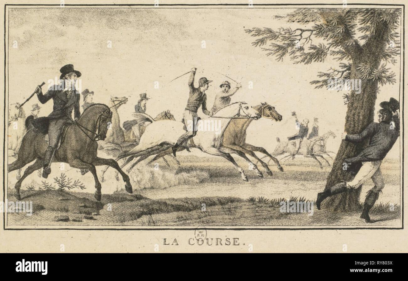 Racing Scenes: The Race (Scènes Hippiques: La course). Carle Vernet (French, 1758-1836), Gravure en noir a l'aquatinte par Jazet, published by Jazet and Aumont. Lithograph; sheet: 9.1 x 14.1 cm (3 9/16 x 5 9/16 in.); image: 6.6 x 10.9 cm (2 5/8 x 4 5/16 in - Stock Image