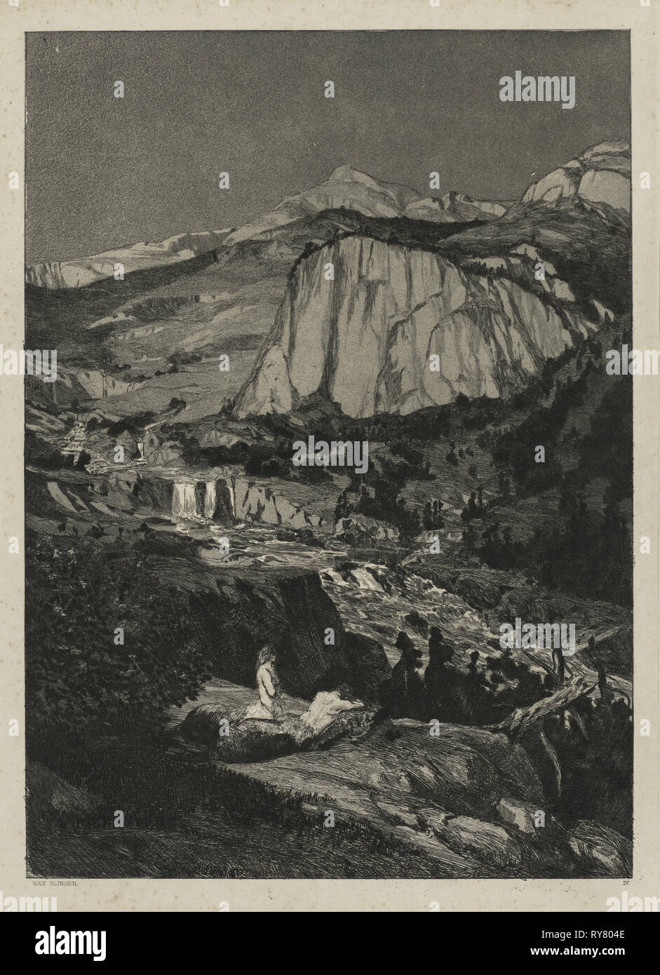 Intermezzo: Moonlit Night (Opus IV, 5), 1881. Max Klinger (German, 1857-1920). Etching and aquatint on chine collé; platemark: 36.2 x 26 cm (14 1/4 x 10 1/4 in.); secondary support: 43.5 x 35 cm (17 1/8 x 13 3/4 in Stock Photo