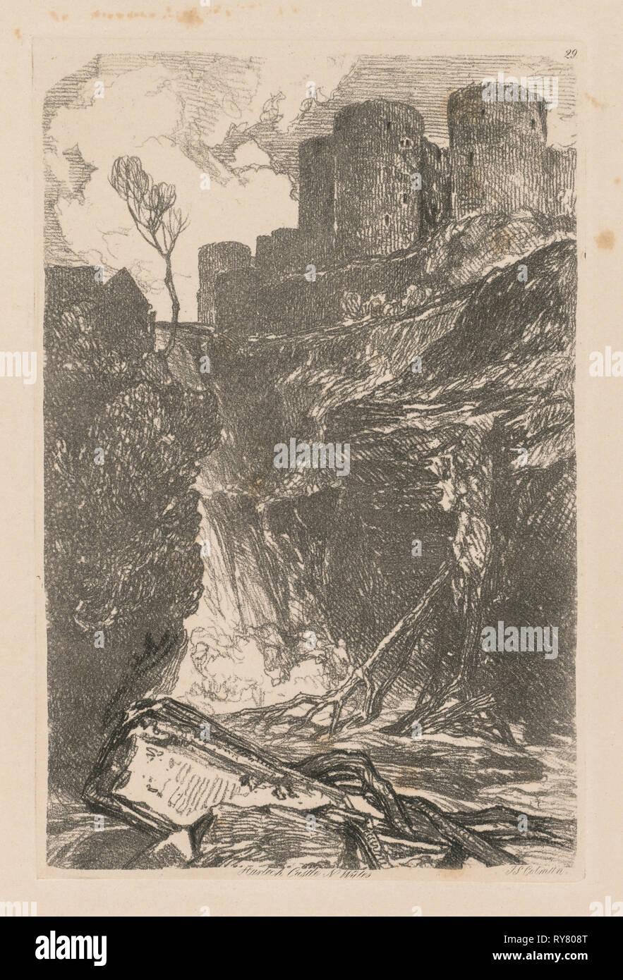 Liber Studiorum: Plate 29, Harlech Castle, N. Wales, 1838. John Sell Cotman (British, 1782-1842). Softground etching, from a bound volume containing 48 plates; sheet: 49.6 x 32 cm (19 1/2 x 12 5/8 in.); platemark: 18.9 x 12.5 cm (7 7/16 x 4 15/16 in Stock Photo