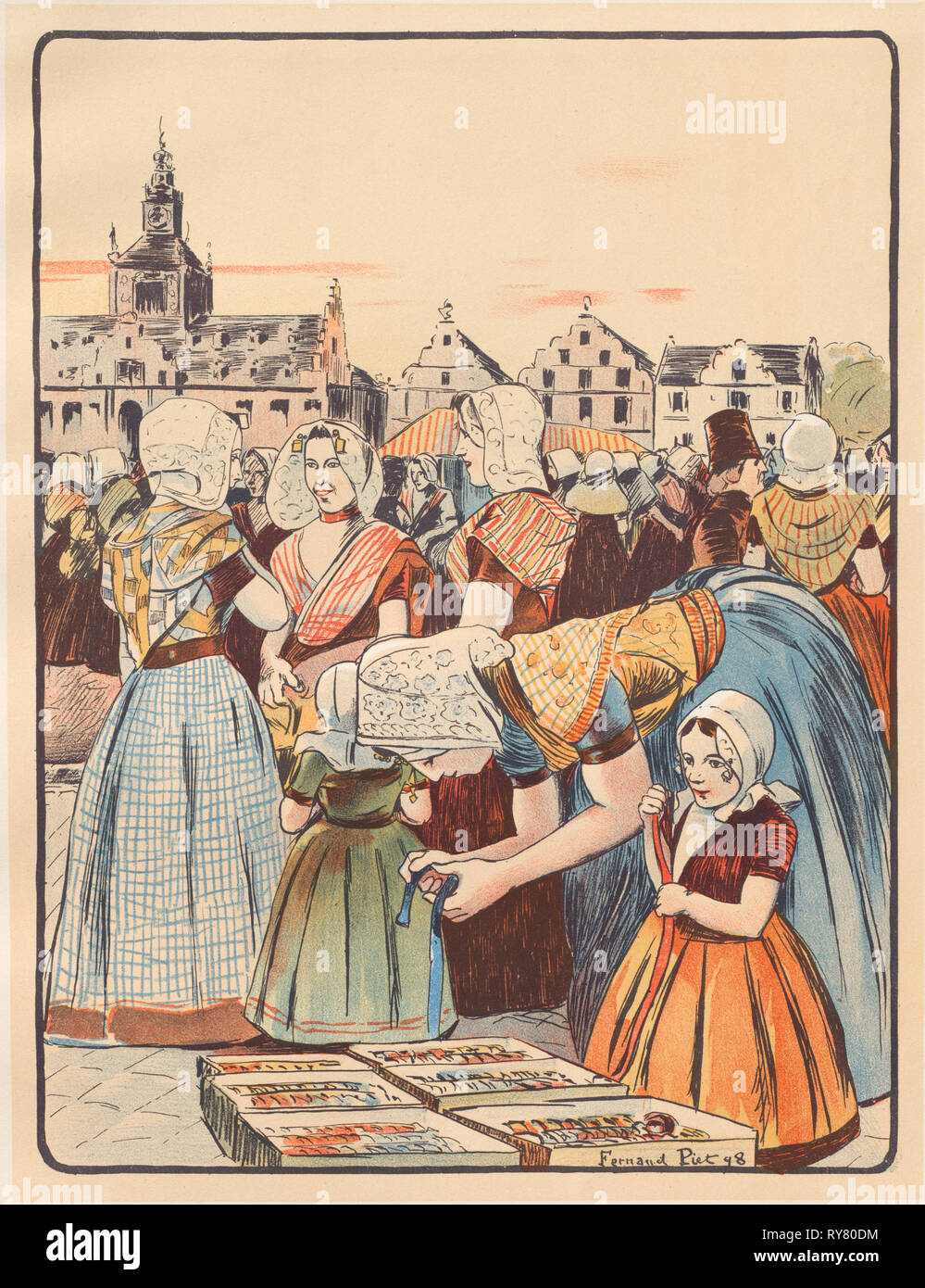 L'Estampe Moderne: Un Marché en Zélande, 1898. Fernand Piet (French, 1869-1942), Imprimerie Champenois. Color lithograph from bound volume containing 50 lithographs, each with a tissue paper guard; sheet: 40.2 x 30.4 cm (15 13/16 x 11 15/16 in.); image: 33 x 25.2 cm (13 x 9 15/16 in - Stock Image