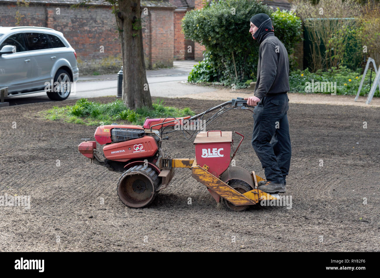 Winchester, Hampshire, England UK. March 2019. Landscape gardener riding on a seed spreader and roller to form a new lawn. - Stock Image
