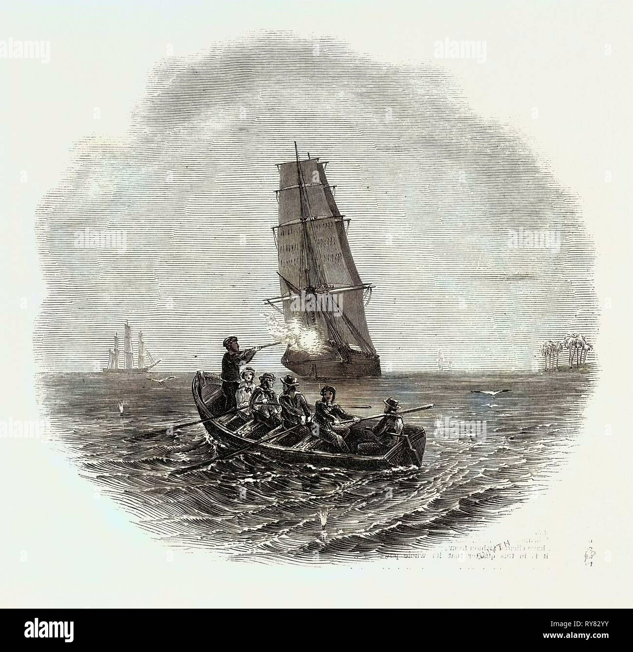 Gallant Capture of a Slaver, Off Fish Bay, West Coast of Africa - Stock Image