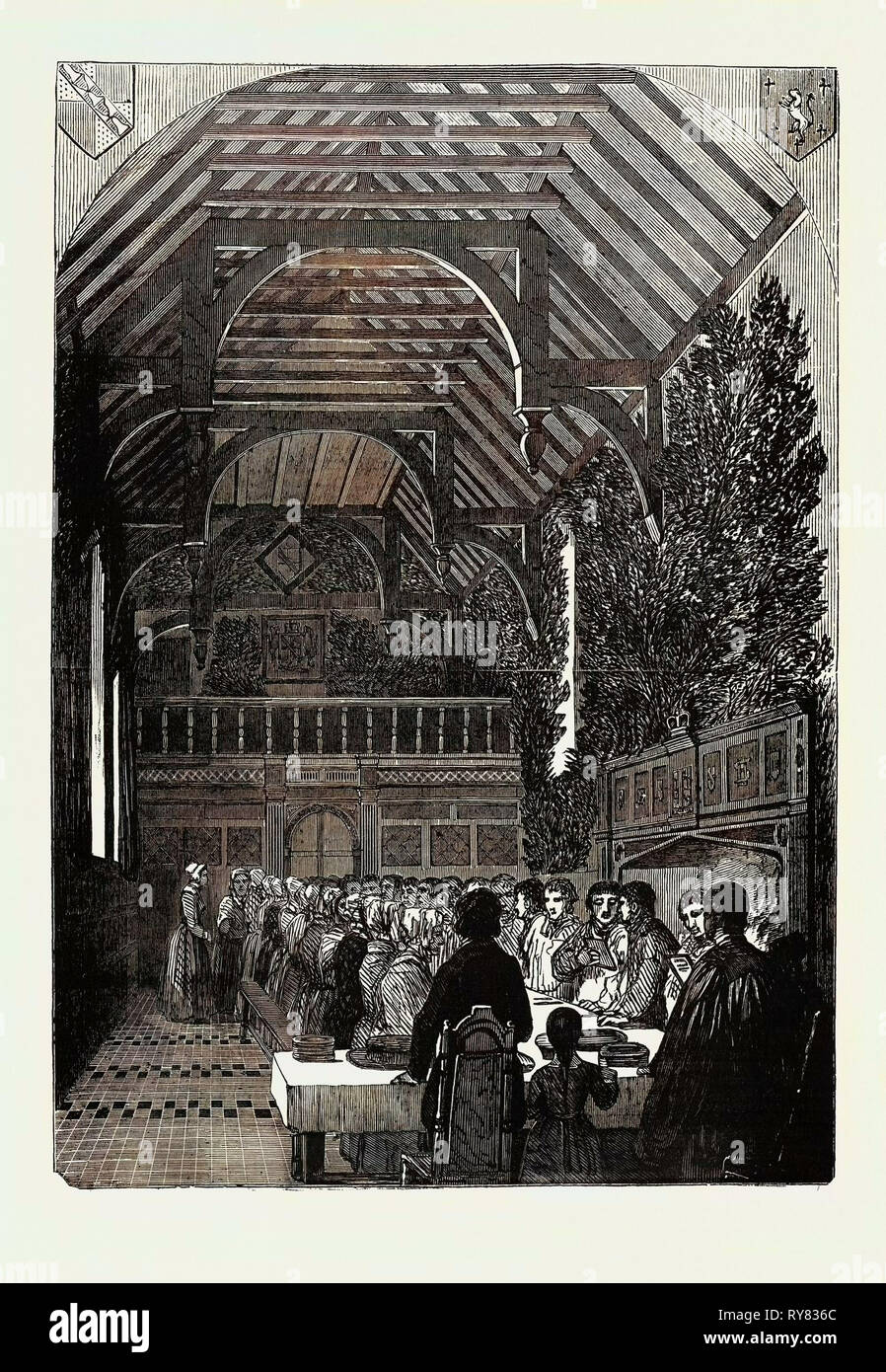 Celebration of Palm Sunday in the Hall of Sackville College, East Grinstead - Stock Image