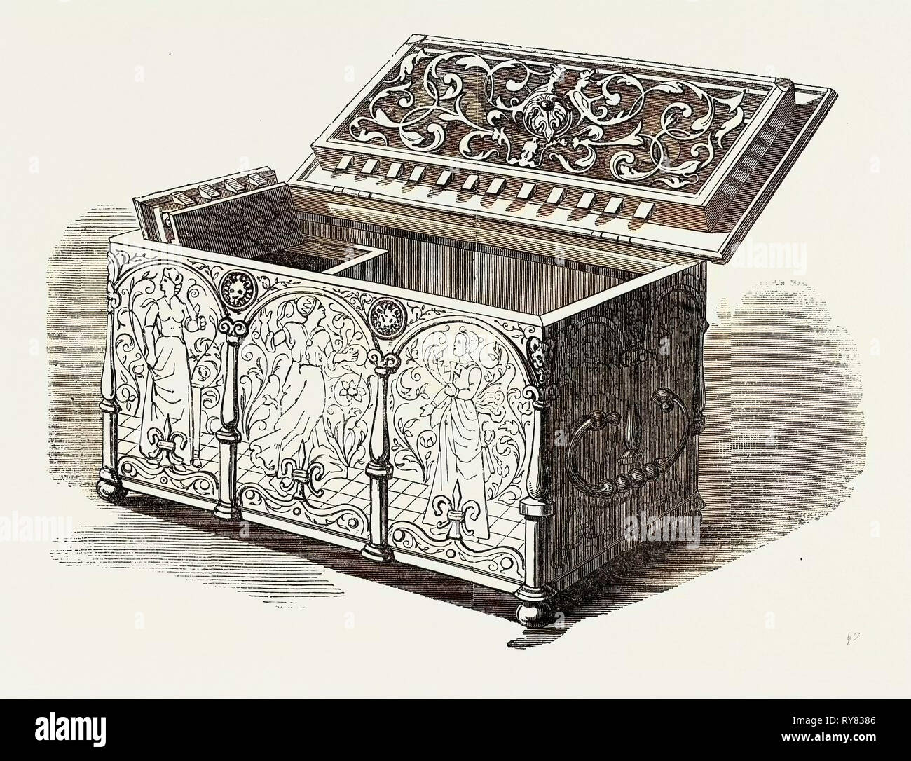 No. 165, Engraved Steel Casket, 16th Century, the Exhibition of Ancient and Mediaeval Art - Stock Image