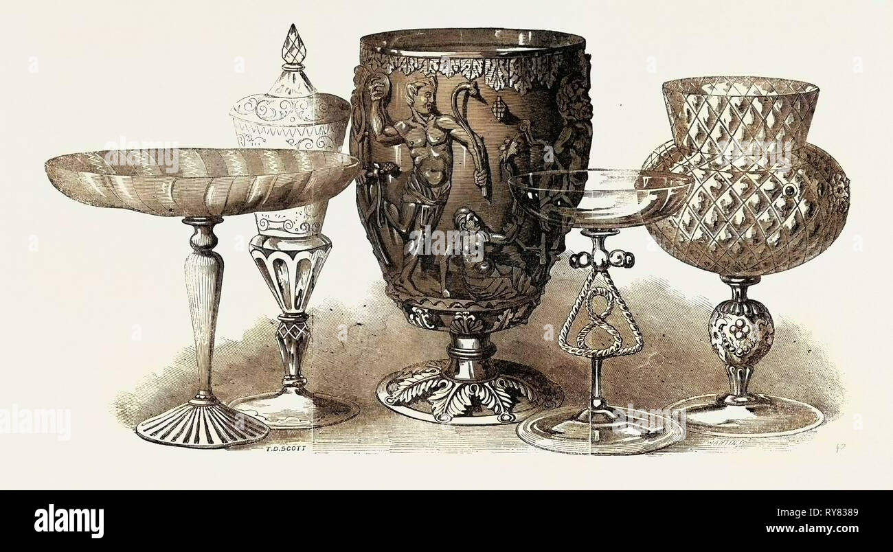 Roman and Venetian Glass, the Exhibition of Ancient and Mediaeval Art - Stock Image
