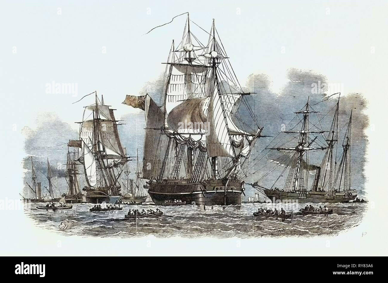 Captain Austin's Expedition, Sent in Search of Sir John Franklin - Stock Image