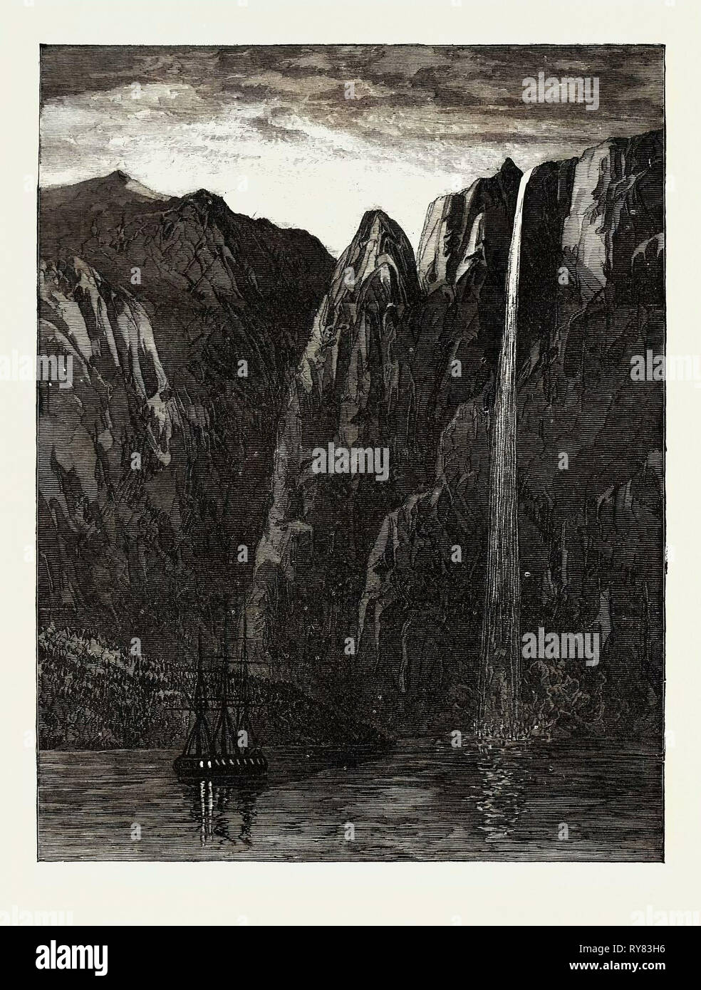 Port Gallant Straits of Magellan 1873 - Stock Image
