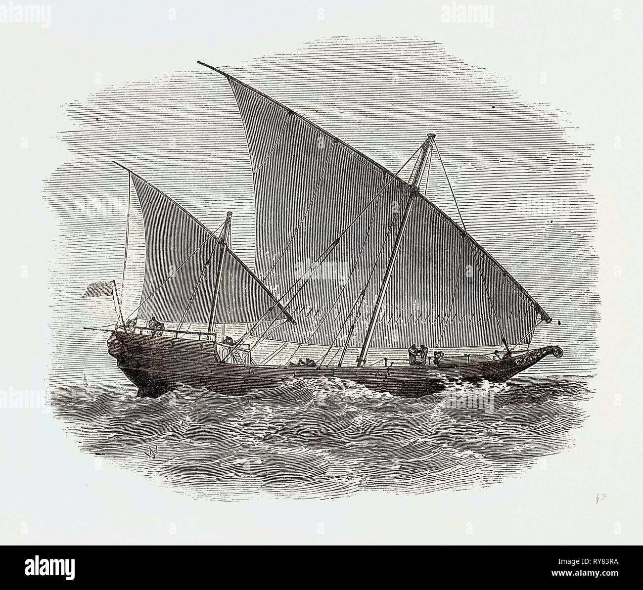 Vessels Used in the Zanzibar Slave Trade: Bugala or Dhow 1873 - Stock Image