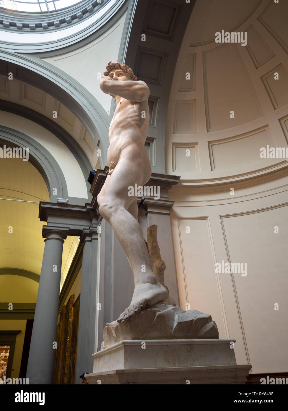 Figure of David, made by Michelangelo and exhibited in the Gallery of the Academy in Florence. - Stock Image