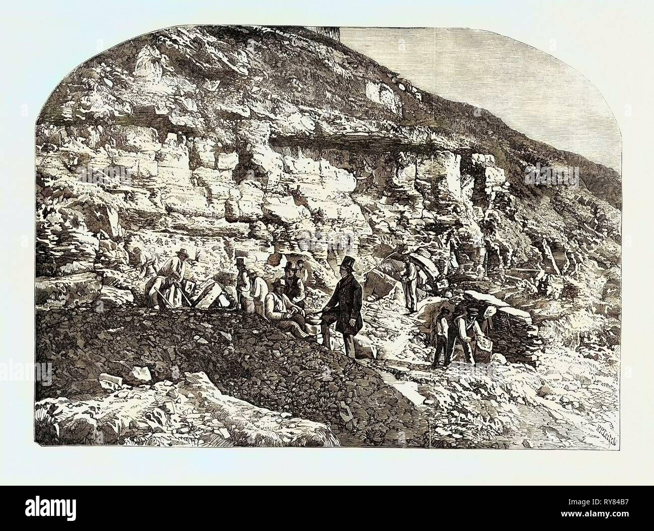 Scene of the Geological Discoveries at Swanage Dorset - Stock Image