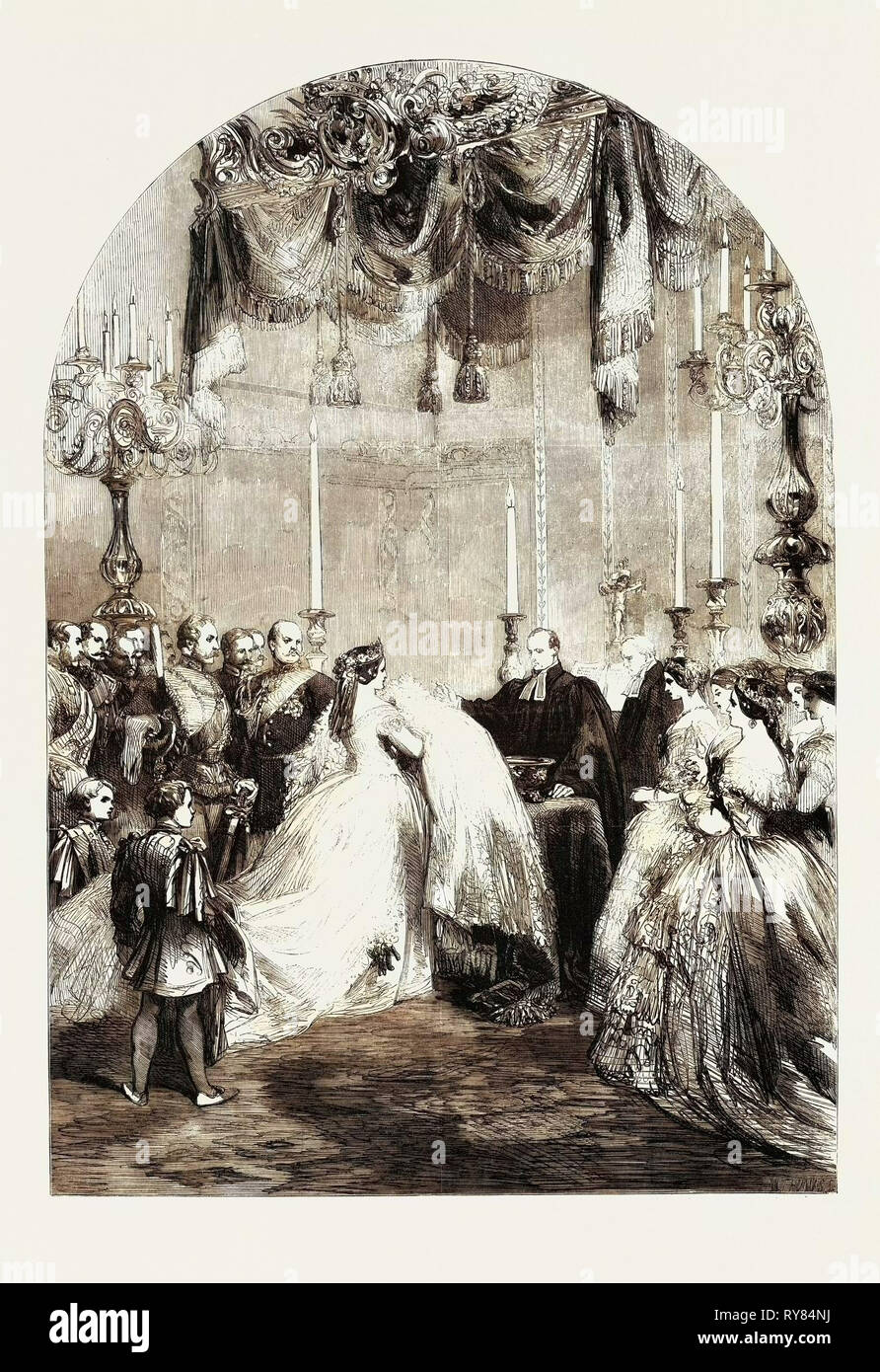 Baptism of the Infant Prince Frederick William Victor Albert at Berlin on the 5th Inst - Stock Image