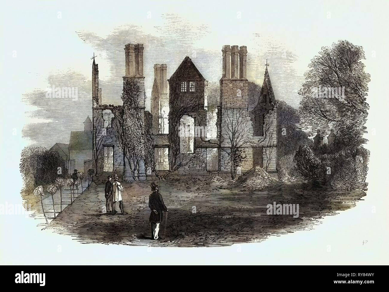 Ruins of King's Newton Hall Near Melbourne Derbyshire Destroyed by Fire on the 17th Inst - Stock Image