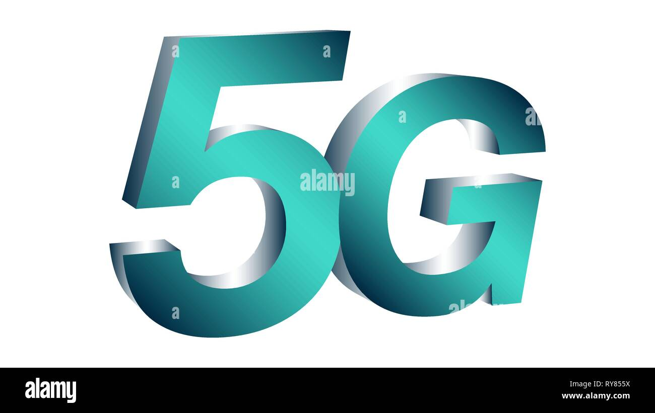 5g fifth generation of mobile connections vector symbol - Stock Image