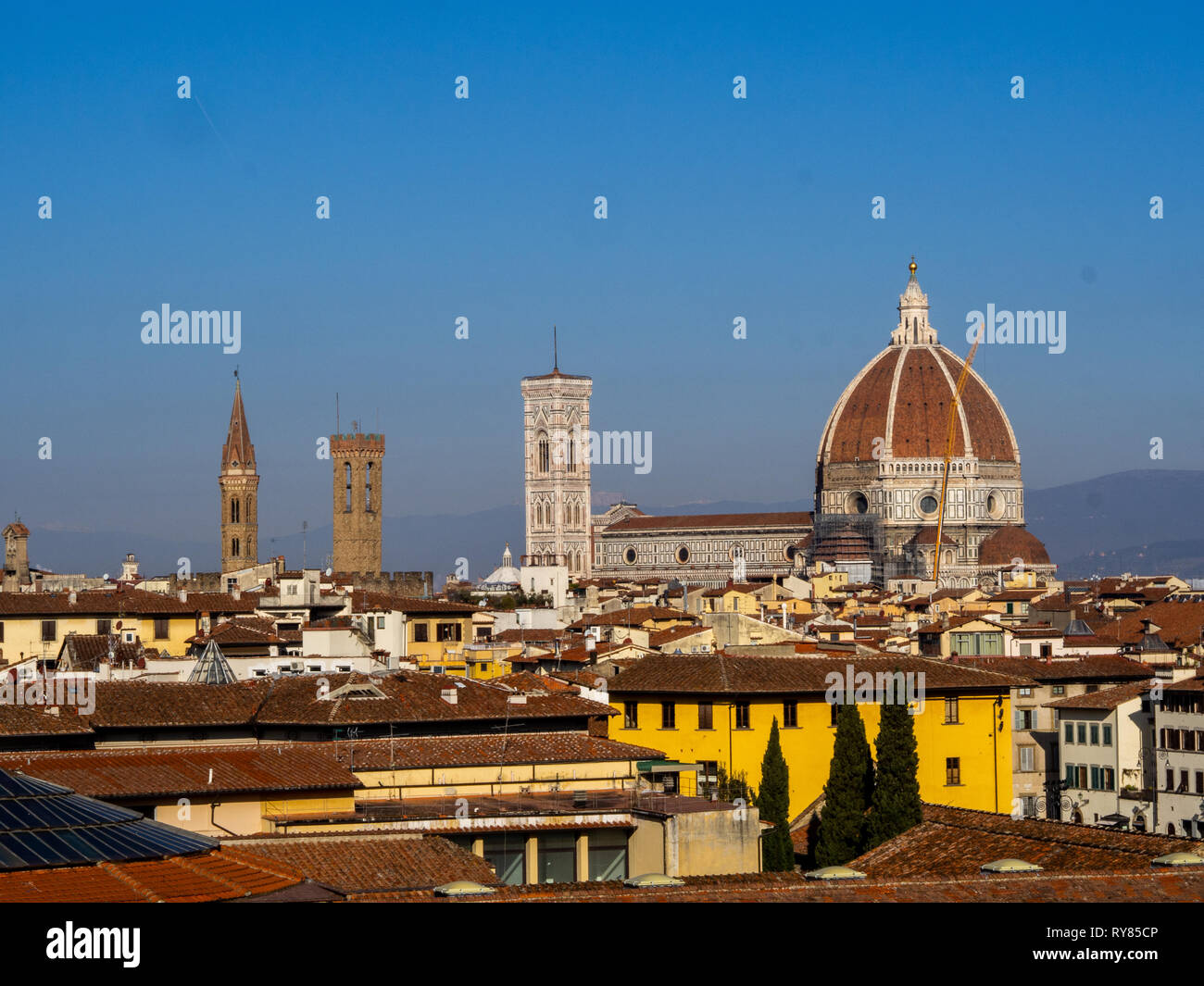 Cathedral of Santa Maria del Fiore, in Florence and its baptistery seen from afar Stock Photo