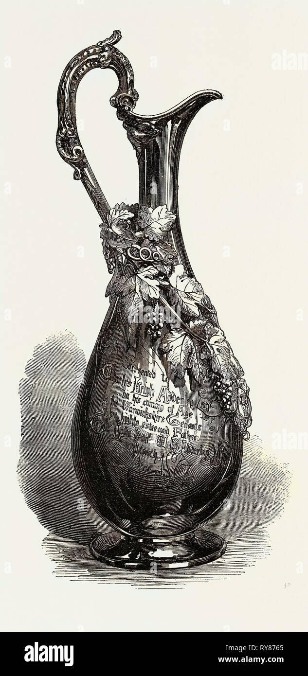 Jug Presented to C.L. Adderley Esq  by His Father's Tenants 1867 - Stock Image