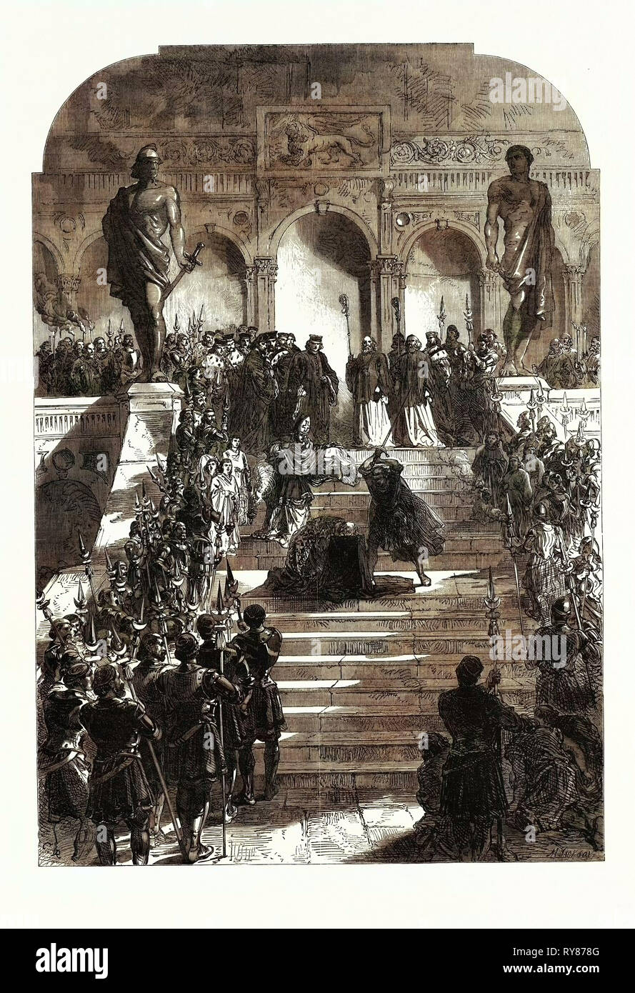 The Execution Scene from the Doge of Venice at Drury Lane Theatre London UK 1867 - Stock Image