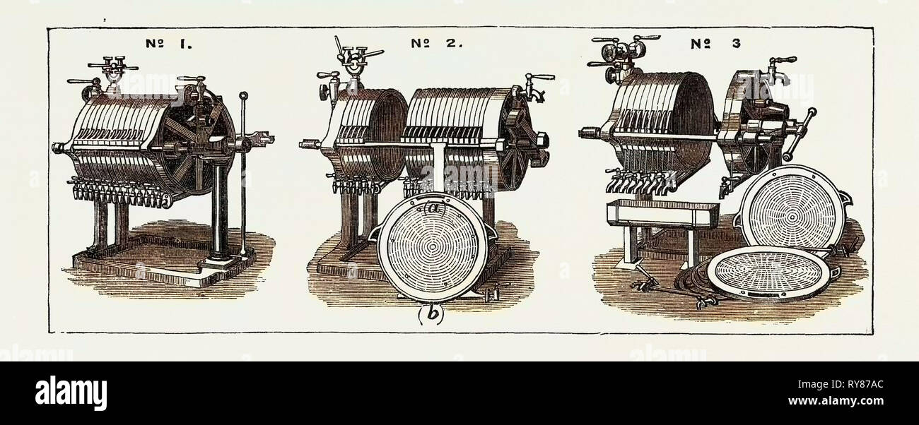 The Paris International Exhibition: Filter Presses of Messrs. P. Du Rieux and E. Roeltger for the Manufacture of Sugar France 1867 - Stock Image