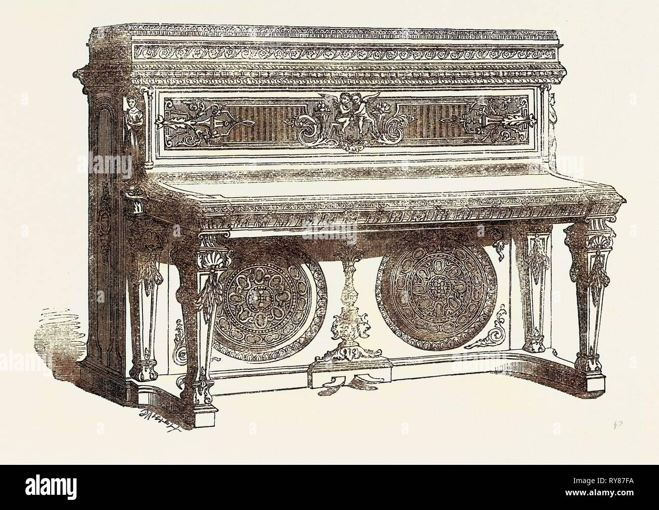 The International Exhibition: Oblique Grand Pianoforte, 1862 - Stock Image