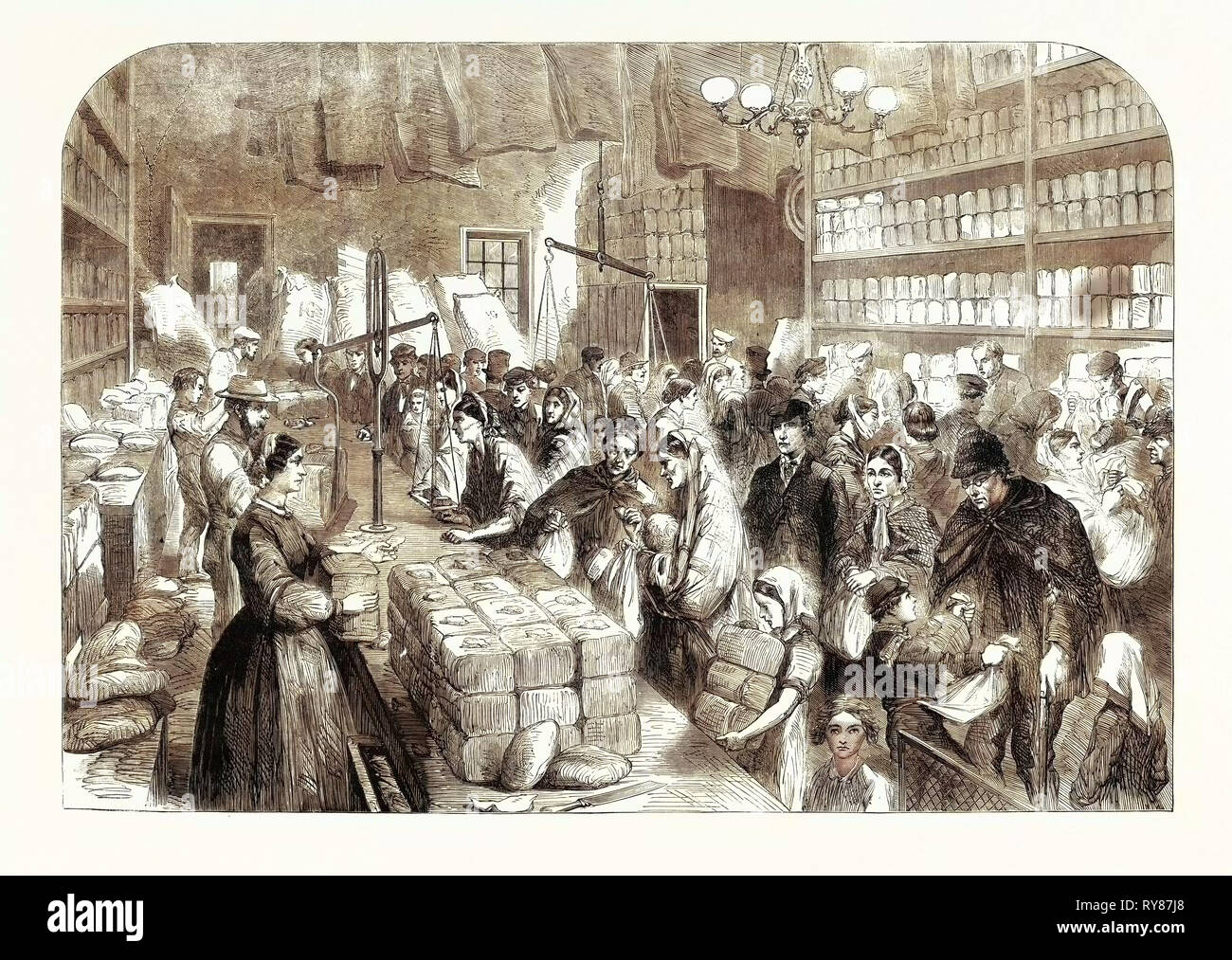 Cotton Famine Provision Shop Goods Obtained Tickets Issued Manchester Salford Provident Society 1862 UK Great Britain - Stock Image