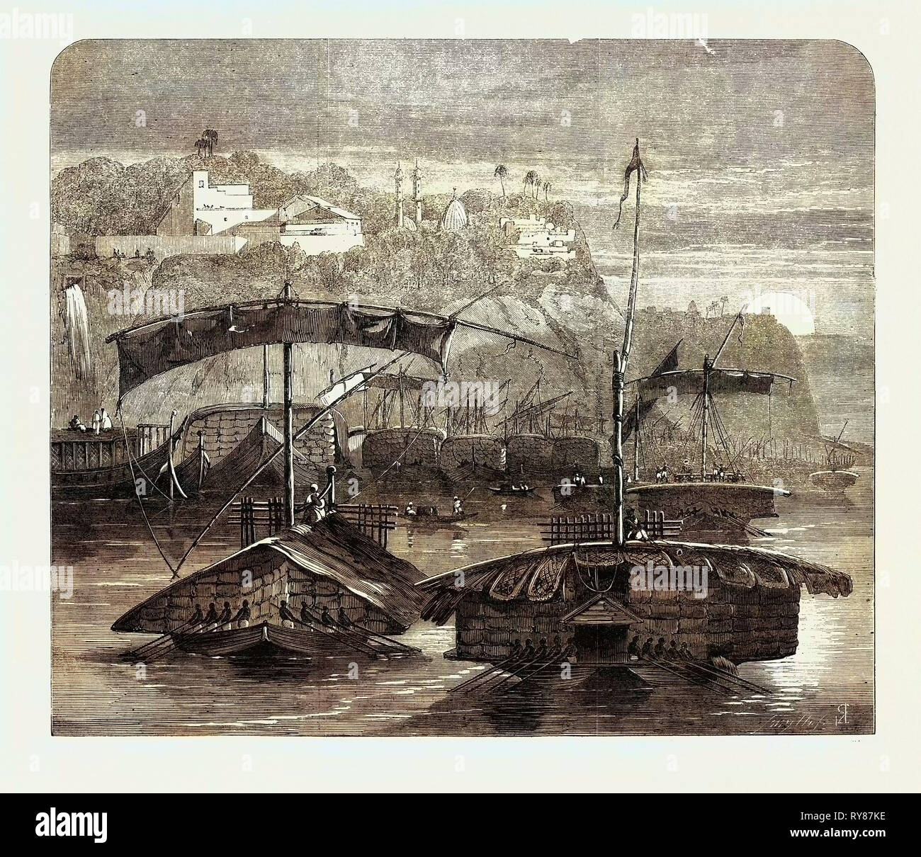 Cotton from India: A Cotton Fleet Descending the Ganges Casting Off from Mirzapore Early in the Morning 1862 Stock Photo