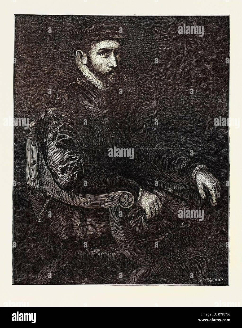 Sir Thomas Gresham, in the National Portrait Exhibition South Kensington London UK - Stock Image