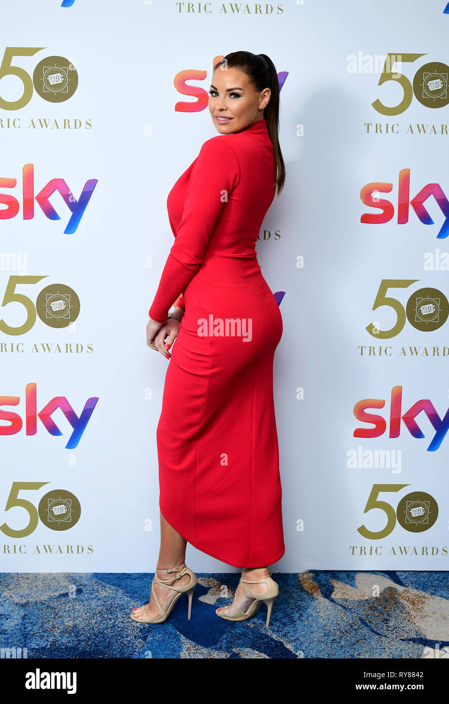Jess Wright attending the TRIC Awards 2019 50th Birthday Celebration held at the Grosvenor House Hotel, London. - Stock Image