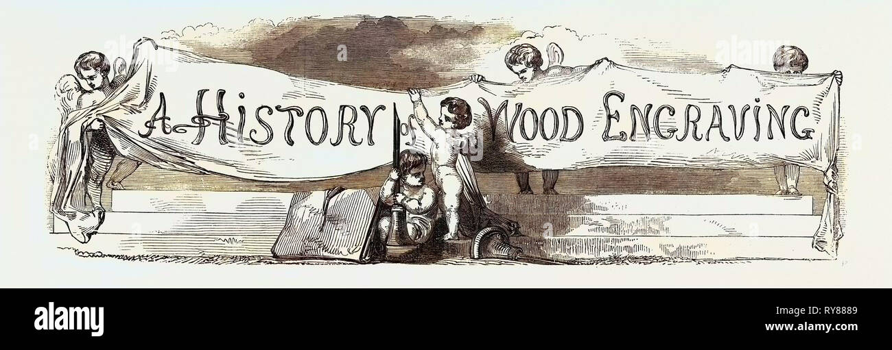 History of Wood Engraving - Stock Image