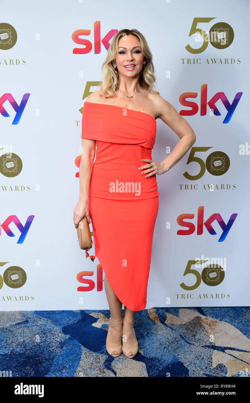 Kristina Rihanoff attending the TRIC Awards 2019 50th Birthday Celebration held at the Grosvenor House Hotel, London. - Stock Image