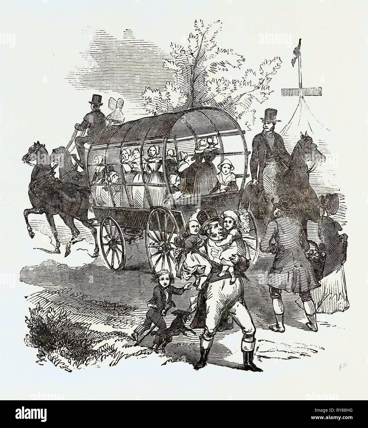 The Road.---Waggons, Etc., Goodwood Races 1844 - Stock Image