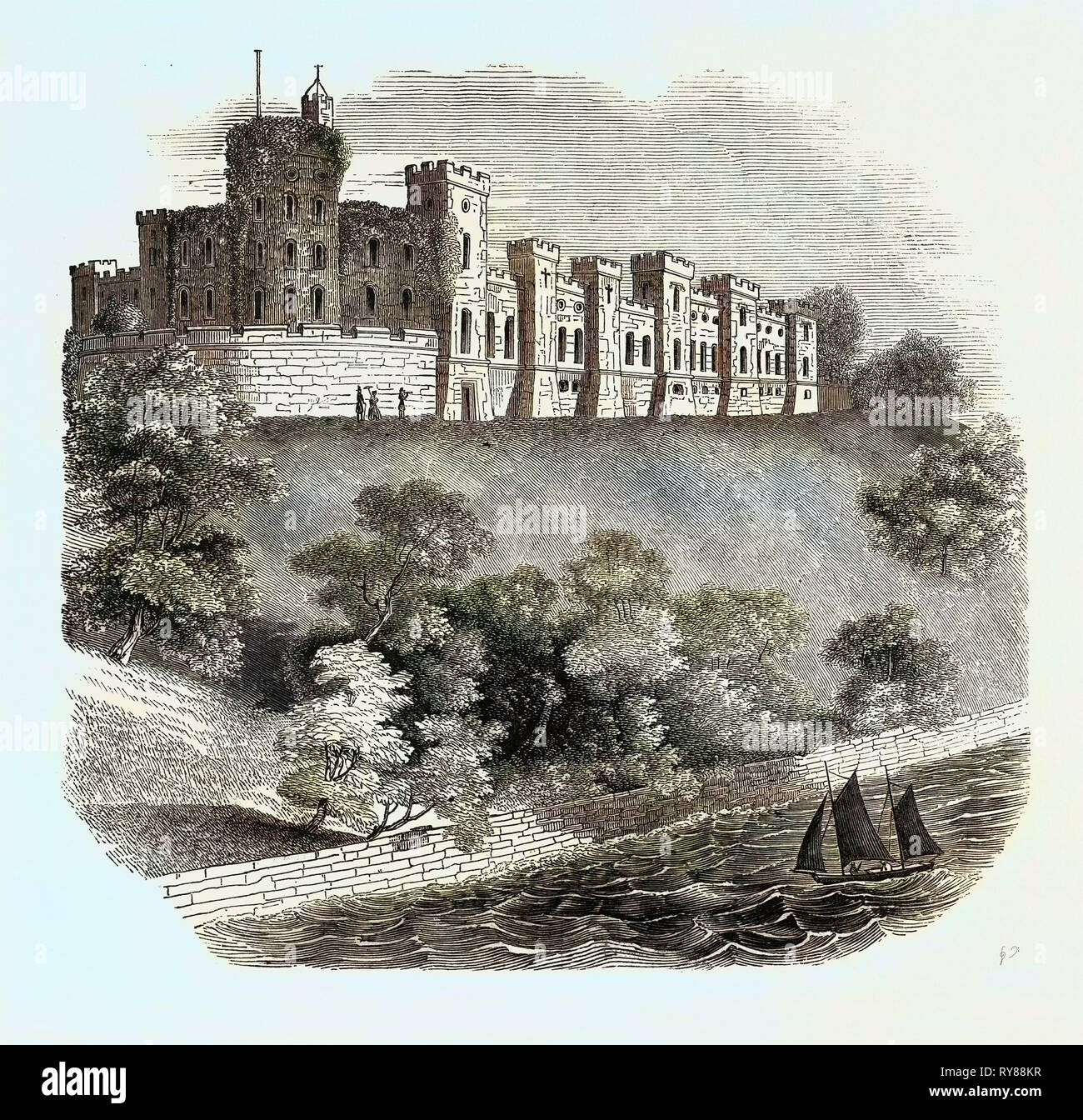 antique print ISLE OF WIGHT Norris Castle 1844