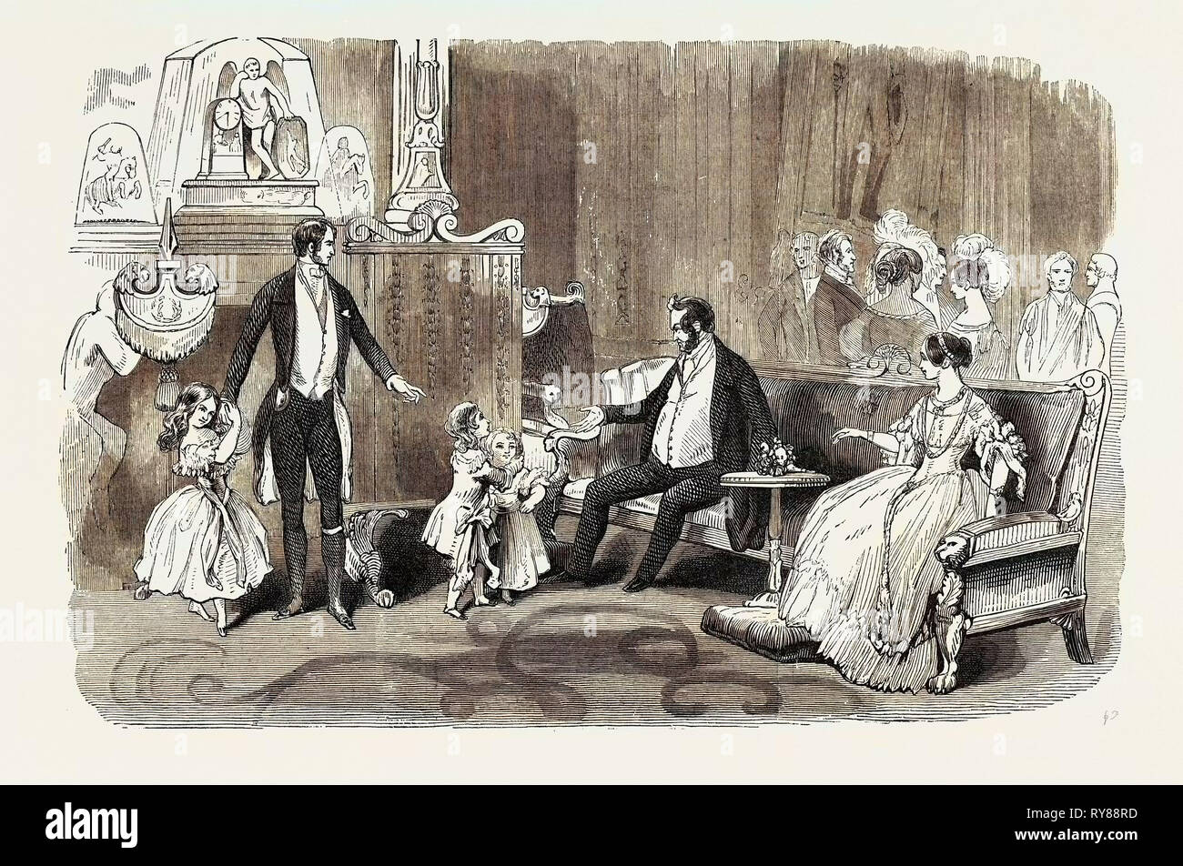 Visit of the King of the French to Queen Victoria: The Crimson Drawing Room: Introduction of Louis Philippe to the Infant Royal Family - Stock Image