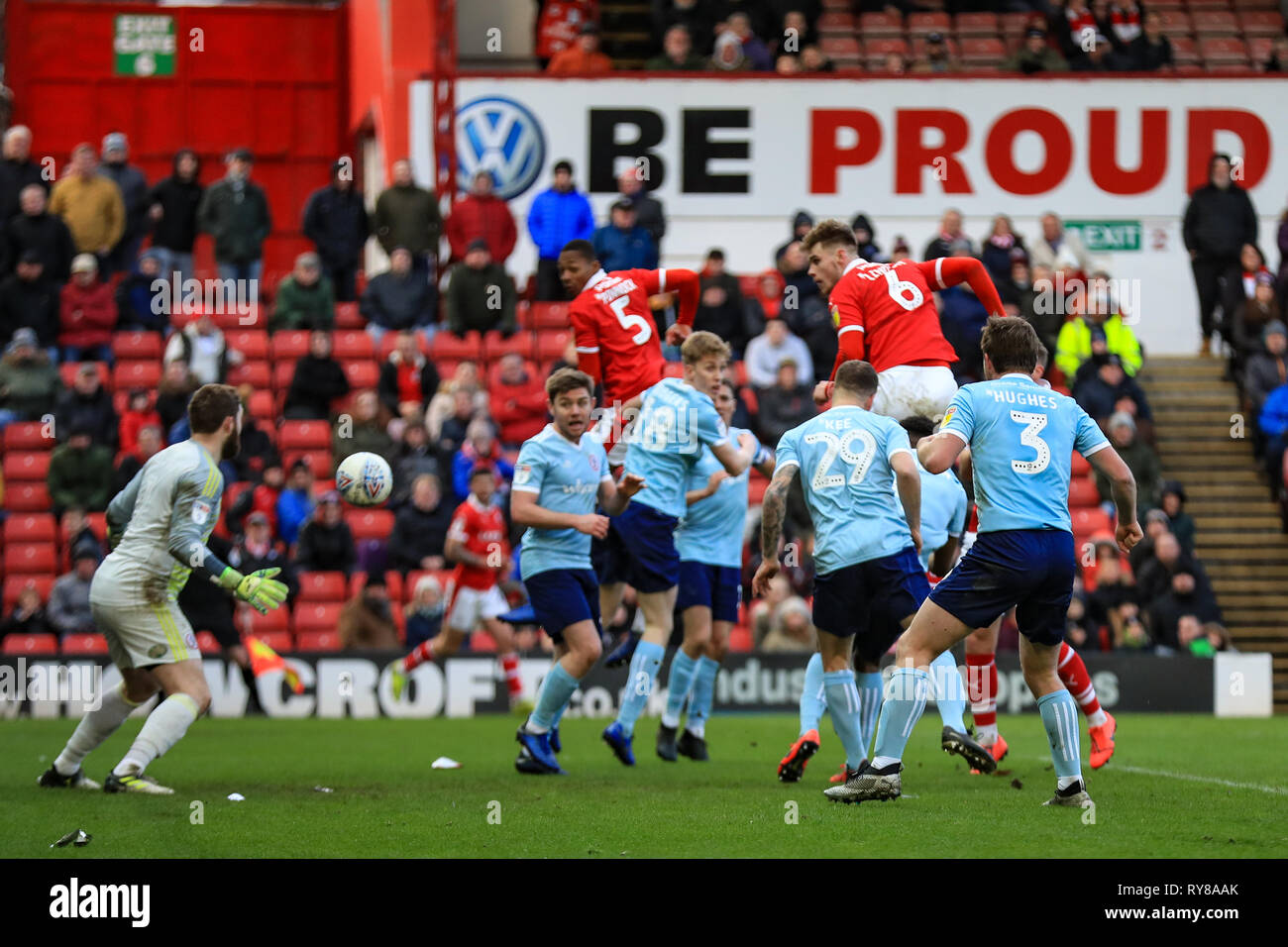 9th March 2019, Oakwell, Barnsley, England; Sky Bet League One, Barnsley vs Accrington Stanley ; Liam Lindsay (06) of Barnsley with a header on goal   Credit: John Hobson/News Images  English Football League images are subject to DataCo Licence - Stock Image