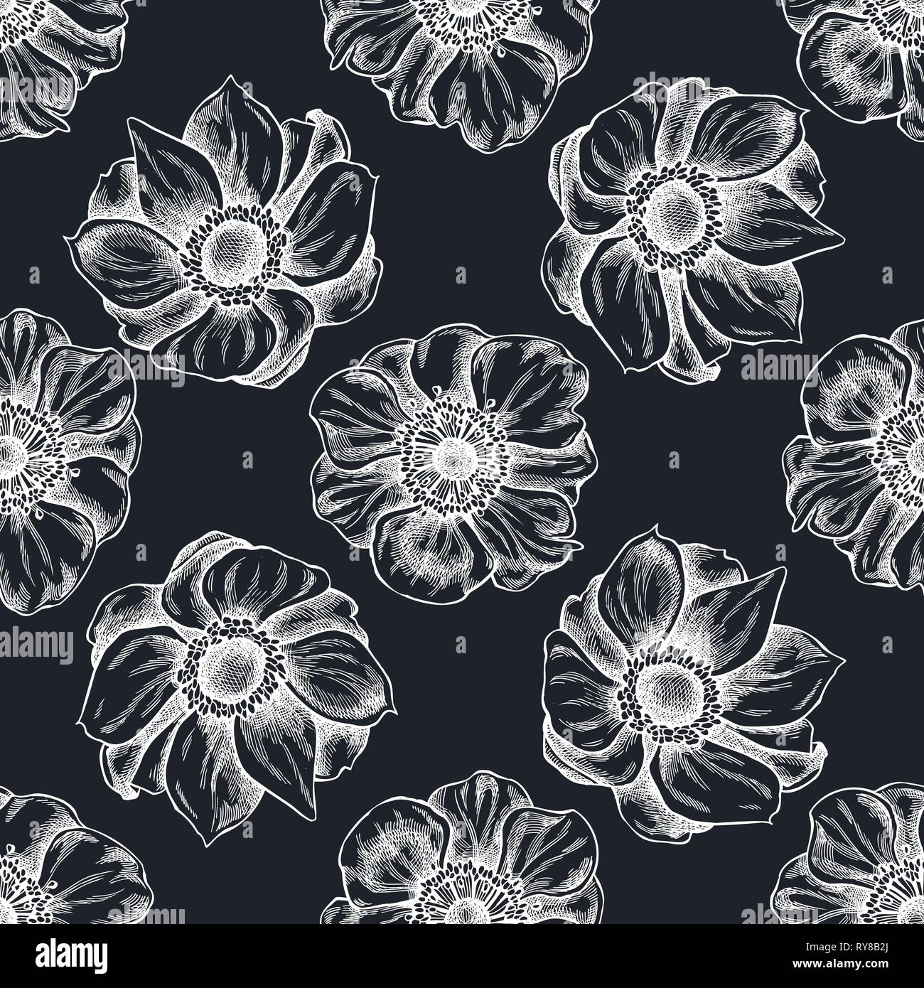 Seamless pattern with hand drawn chalk anemone - Stock Vector