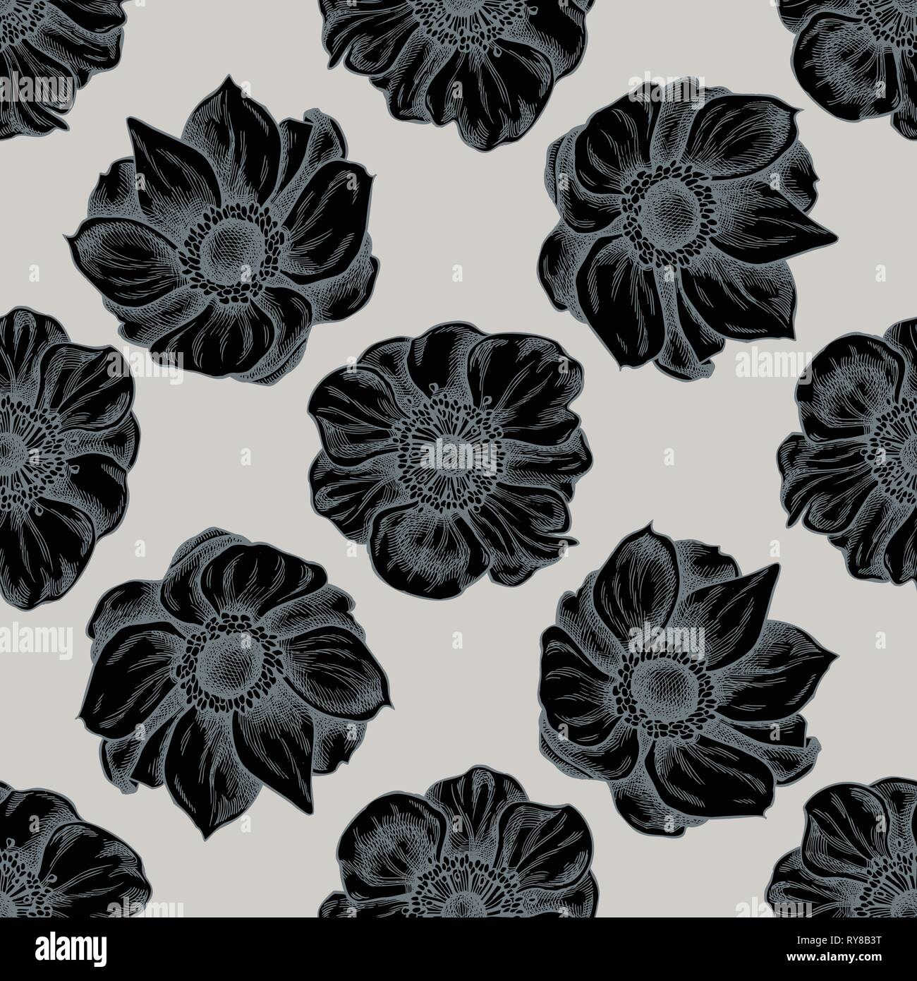 Seamless pattern with hand drawn stylized anemone - Stock Vector