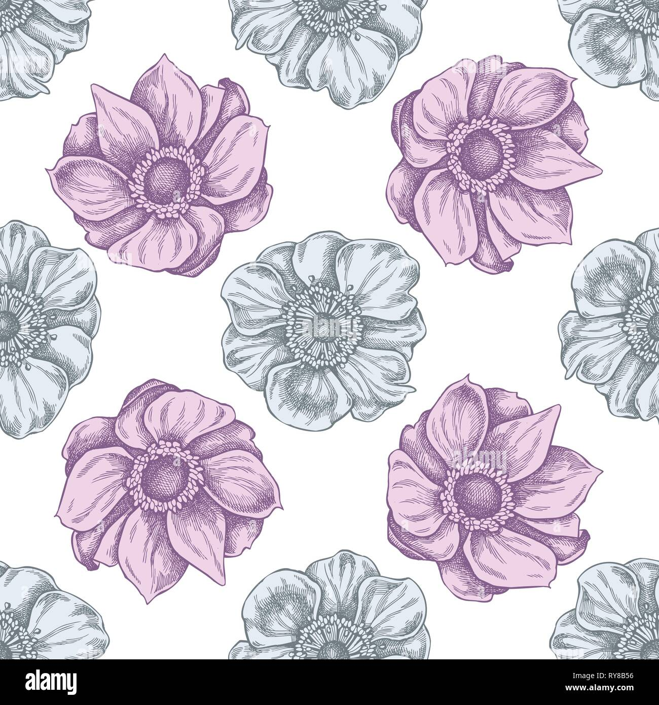 Seamless pattern with hand drawn pastel anemone - Stock Vector