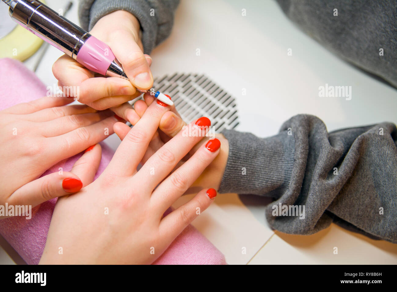 Remove Old Nail Polish, manicure. Milling of nails. Removing the ...