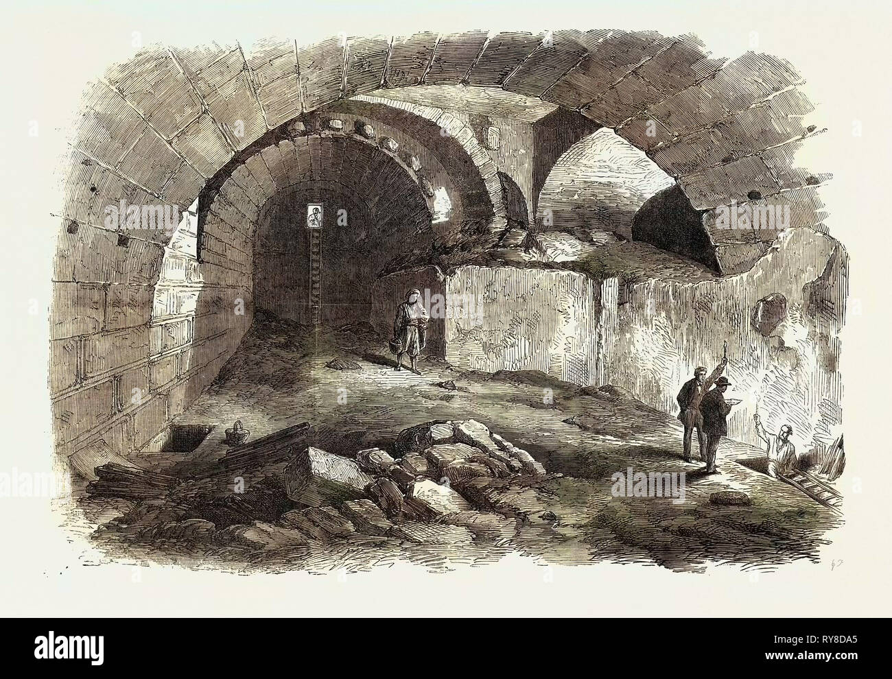 The Explorations at Jerusalem: Wilson's Arch Haram Wall 1869 - Stock Image