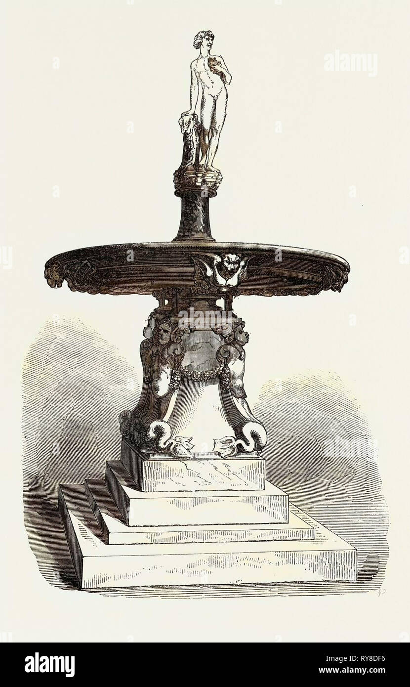 Fountain with Statuette of Bacchus - Stock Image